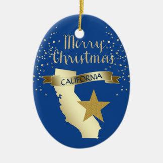 Blue Gold California Star Christmas Ornament
