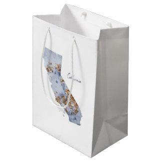Blue & Gold California State Map Medium Gift Bag