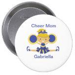 Blue & Gold Cheer Mum Cheerleader Button