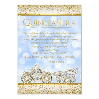 Blue Gold Cinderella Princess Quinceanera 13 Cm X 18 Cm Invitation Card