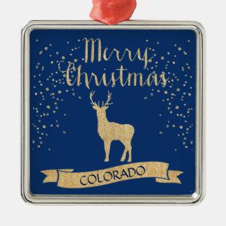 Blue Gold Colorado Elk Faux Glitter Christmas Ornament