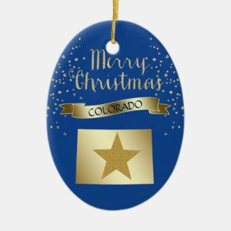 Blue Gold Colorado Star Christmas Ornament