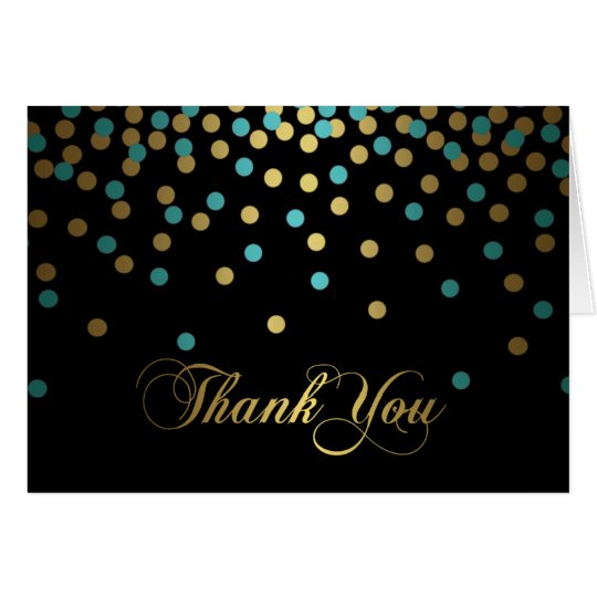 Blue & Gold Confetti Thank You Card