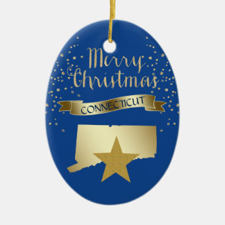 Blue Gold Connecticut Star Christmas Ornament