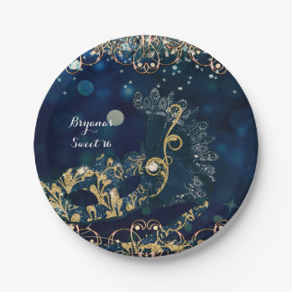 Blue & Gold Costume Masquerade Mask Birthday Party 7 Inch Paper Plate