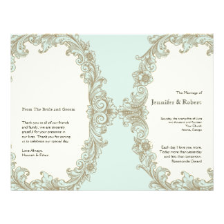 Blue Gold Cream Vintage Cream Wedding Program Personalized Flyer