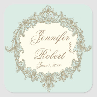 Blue Gold Cream Vintage Frame Envelope Seal Square Sticker