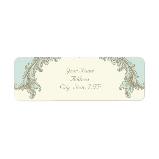 Blue Gold Cream Vintage Frame Return Address