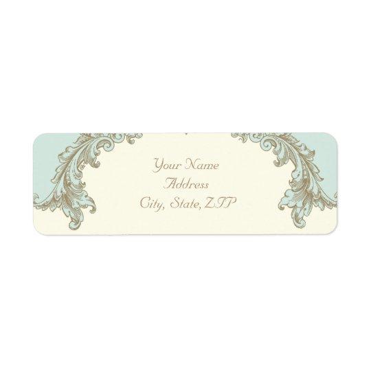 Blue Gold Cream Vintage Frame Return Address Return Address Label