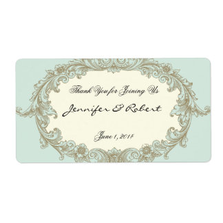Blue Gold Cream Vintage Frame Water Bottle Label Shipping Label