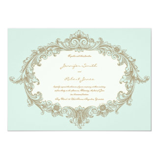 Blue Gold Cream Vintage Frame Wedding Invitation