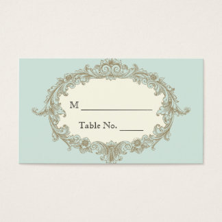 Blue Gold Cream Vintage Frame Wedding Place Cards