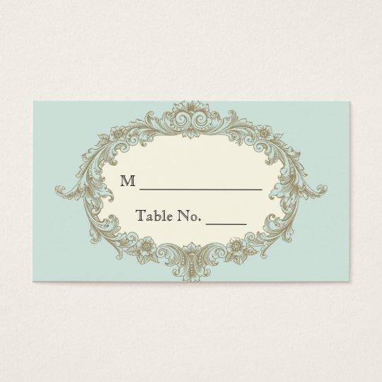 Blue Gold Cream Vintage Frame Wedding Place Cards