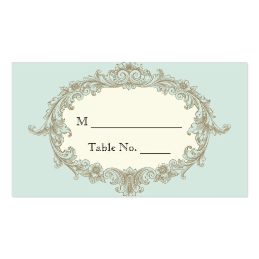Blue Gold Cream Vintage Frame Wedding Place Cards Business Card Template
