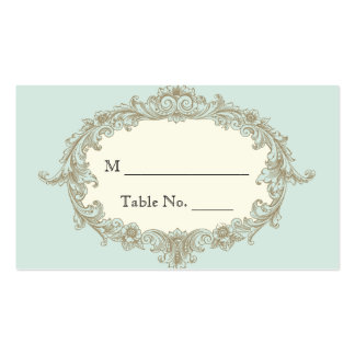 Blue Gold Cream Vintage Frame Wedding Place Cards Pack Of Standard Business Cards