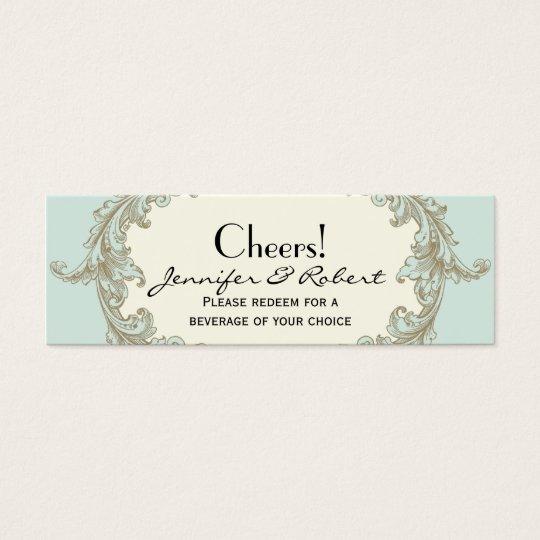 Blue Gold Cream Vintage Wedding Drink Tickets