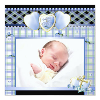 Blue Gold Cross Black Blue Baby Boy Photo Christen 13 Cm X 13 Cm Square Invitation Card