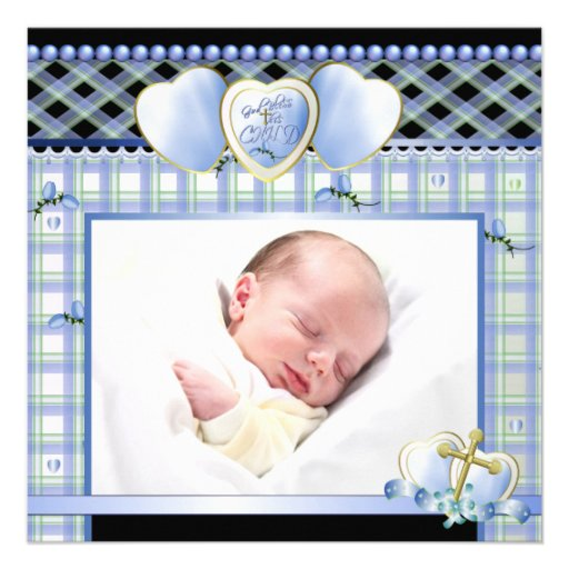 Blue Gold Cross Black Blue Baby Boy Photo Christen Personalized Invitation