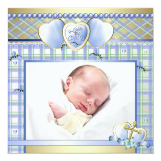 Blue Gold Cross Blue Baby Boy Photo Christening 13 Cm X 13 Cm Square Invitation Card