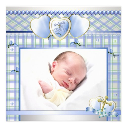 Blue Gold Cross Blue Baby Boy Photo Christening Custom Announcements