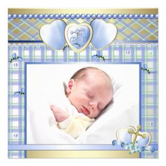 Blue Gold Cross Blue Baby Boy Photo Christening Invitation