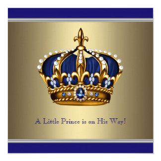 Blue Gold Crown Little Prince Boy Baby Shower 13 Cm X 13 Cm Square Invitation Card
