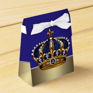 Blue Gold Crown Little Prince Boy Baby Shower Party Favour Box