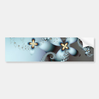 Blue Gold Cute Abstract Floral Bumper Sticker