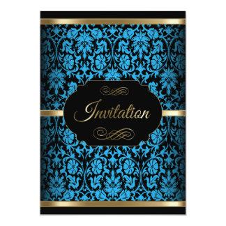 Blue & Gold Damask Party Celebration | DIY Text 13 Cm X 18 Cm Invitation Card