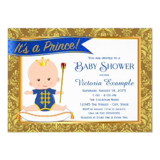 Blue Gold Damask Prince Baby Shower Invitations