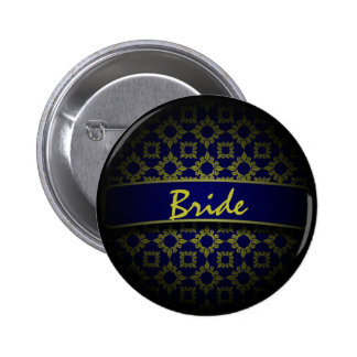 Blue gold damask wedding bride 6 cm round badge