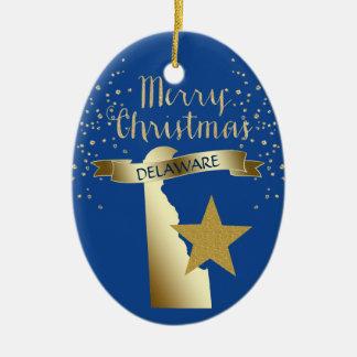 Blue Gold Delaware Star Christmas Ornament