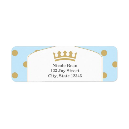 Blue & Gold Dots Royal Crown Prince Address Labels