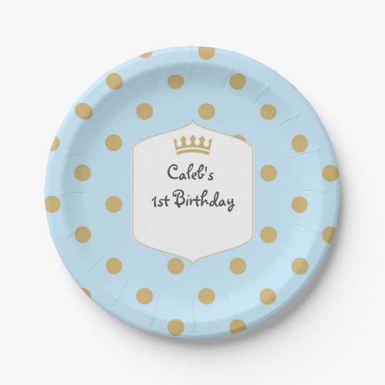 Blue & Gold Dots Royal Crown Prince Party