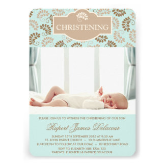 Blue & Gold Floral Christening Photo invitation
