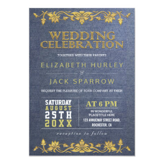 Blue & Gold Floral Embroidery Wedding Invitations