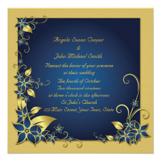 Blue Gold Floral Frame Personalized Invitation