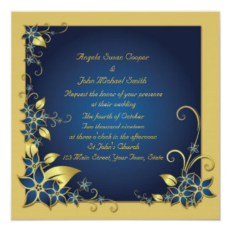 Blue, Gold Floral Frame 13 Cm X 13 Cm Square Invitation Card