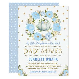 Blue & Gold Floral Pumpkin Baby Shower Invitation