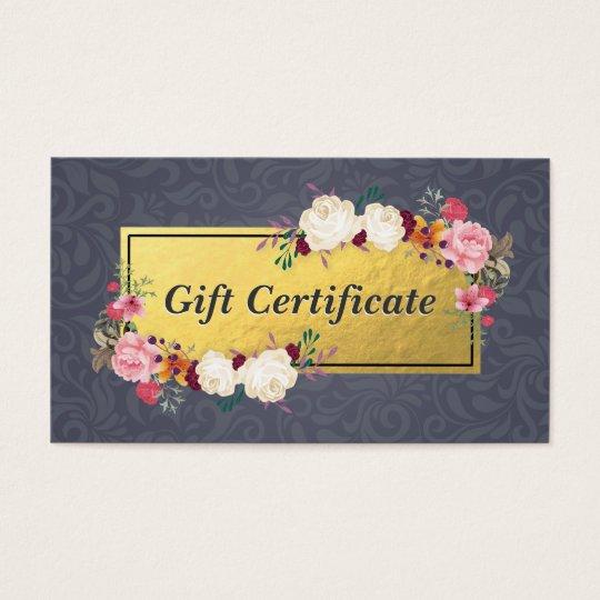 Blue Gold Floral Salon Boutique Gift Certificate