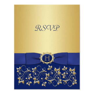 Blue, Gold Floral Scroll Wedding Reply Card 11 Cm X 14 Cm Invitation Card