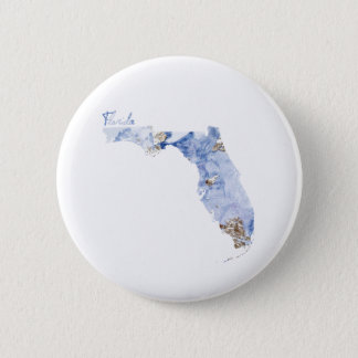 Blue & Gold Florida State Map 6 Cm Round Badge