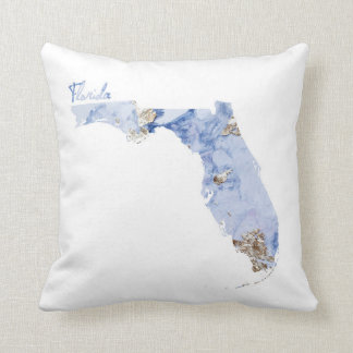 Blue & Gold Florida State Map Cushion