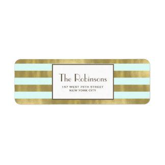 Blue Gold Foil Stripes Address Label