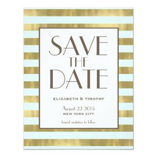Blue Gold Foil Stripes Save the Date Card