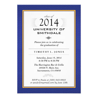 Blue & Gold Formal Graduation Party Invite