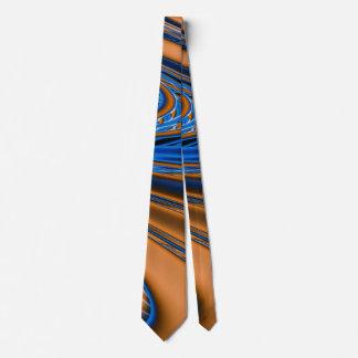 Blue Gold Fractal Tie