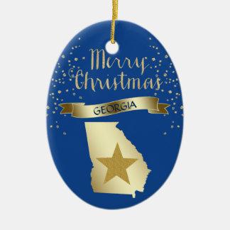 Blue Gold Georgia Star Christmas Ornament