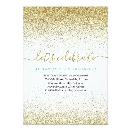 Blue & Gold Glitter 1st Birthday Invitation FIRST
