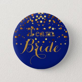 Blue Gold Glitter Faux Foil Wedding Team Bride 6 Cm Round Badge